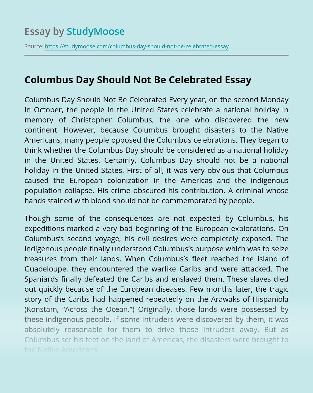 Columbus Day Should Not Be Celebrated
