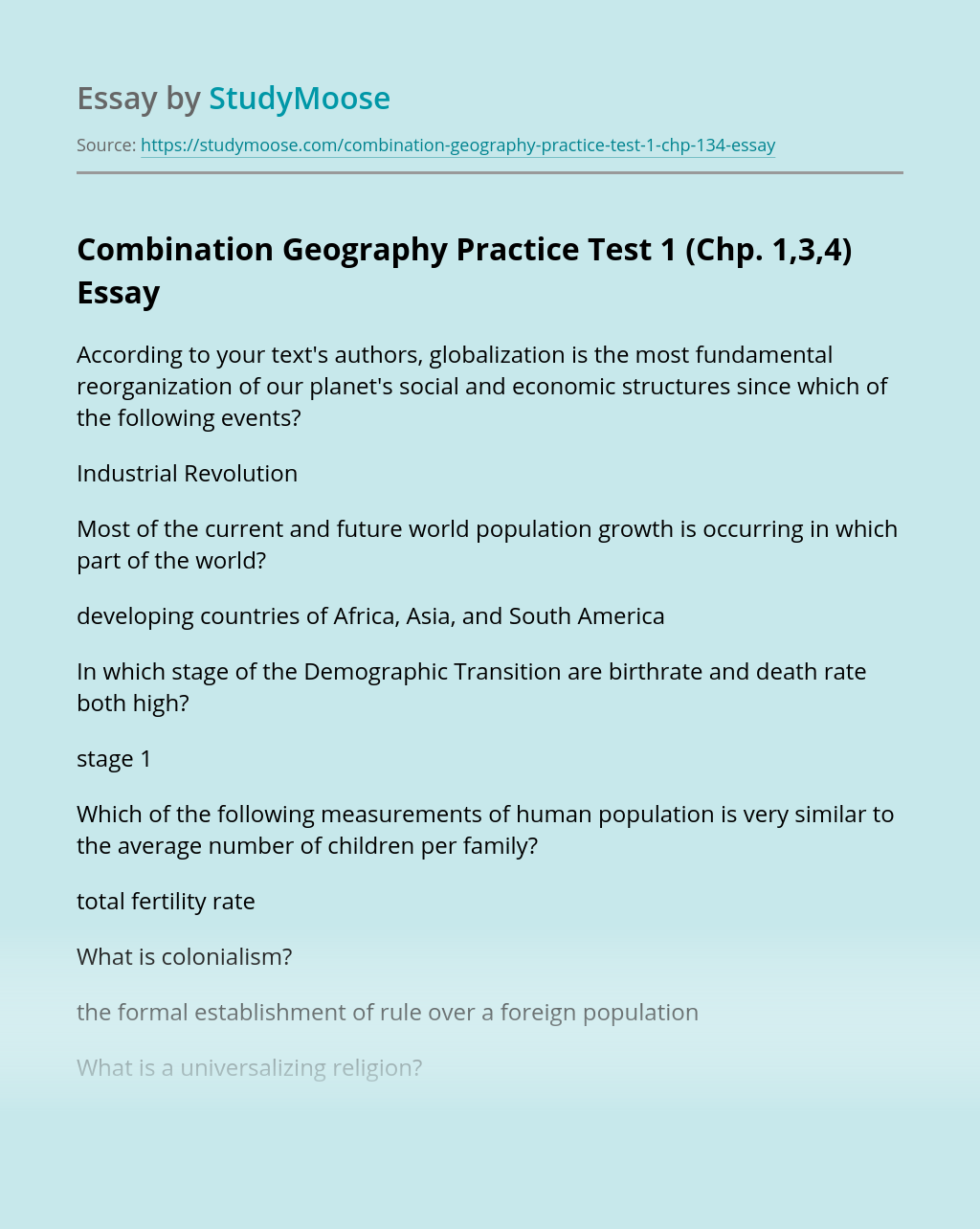 Combination Geography Practice Test 1 (Chp. 1,3,4)