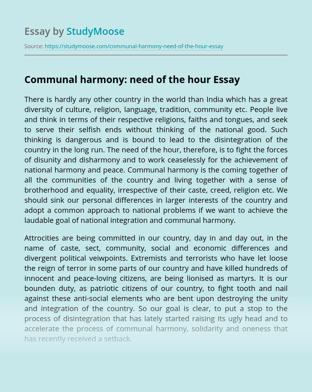 Communal harmony: need of the hour