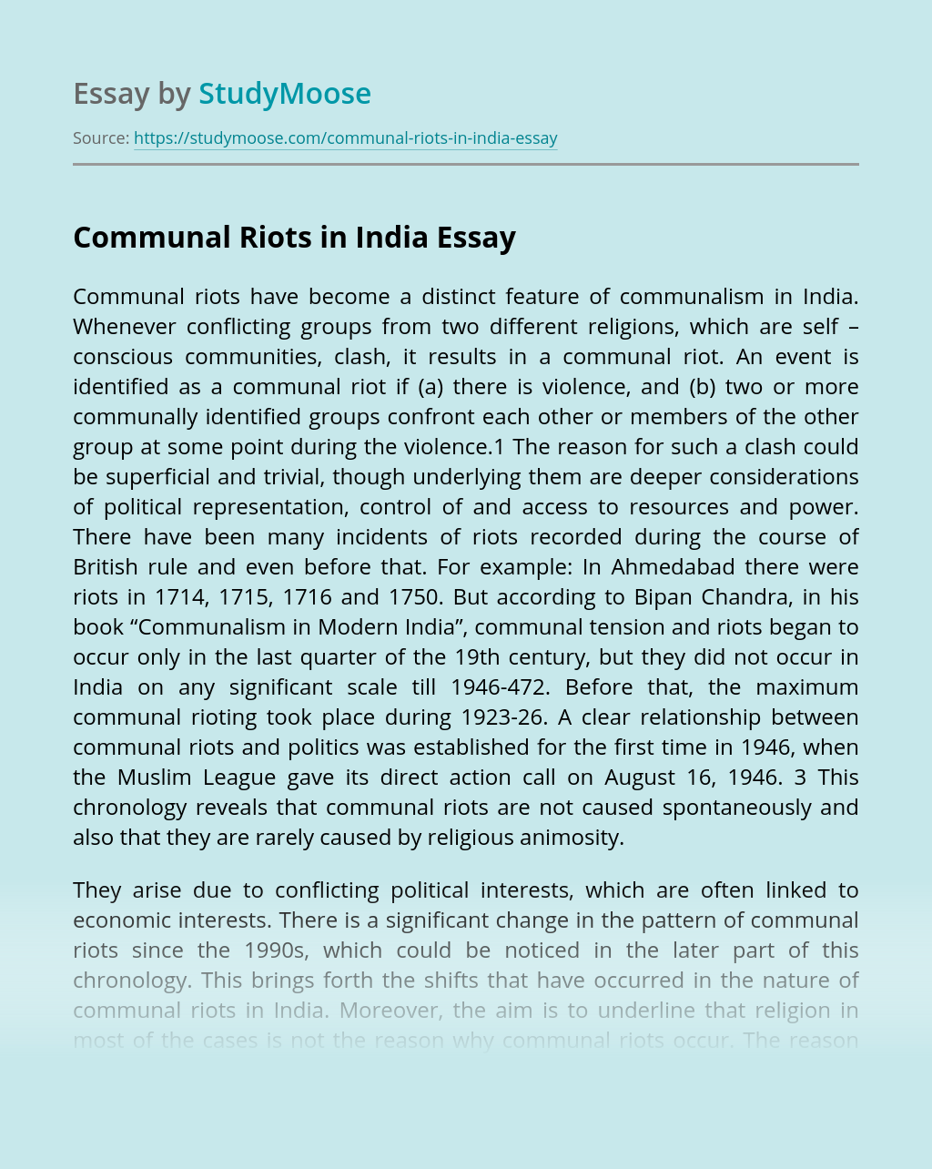 Communal Riots in India