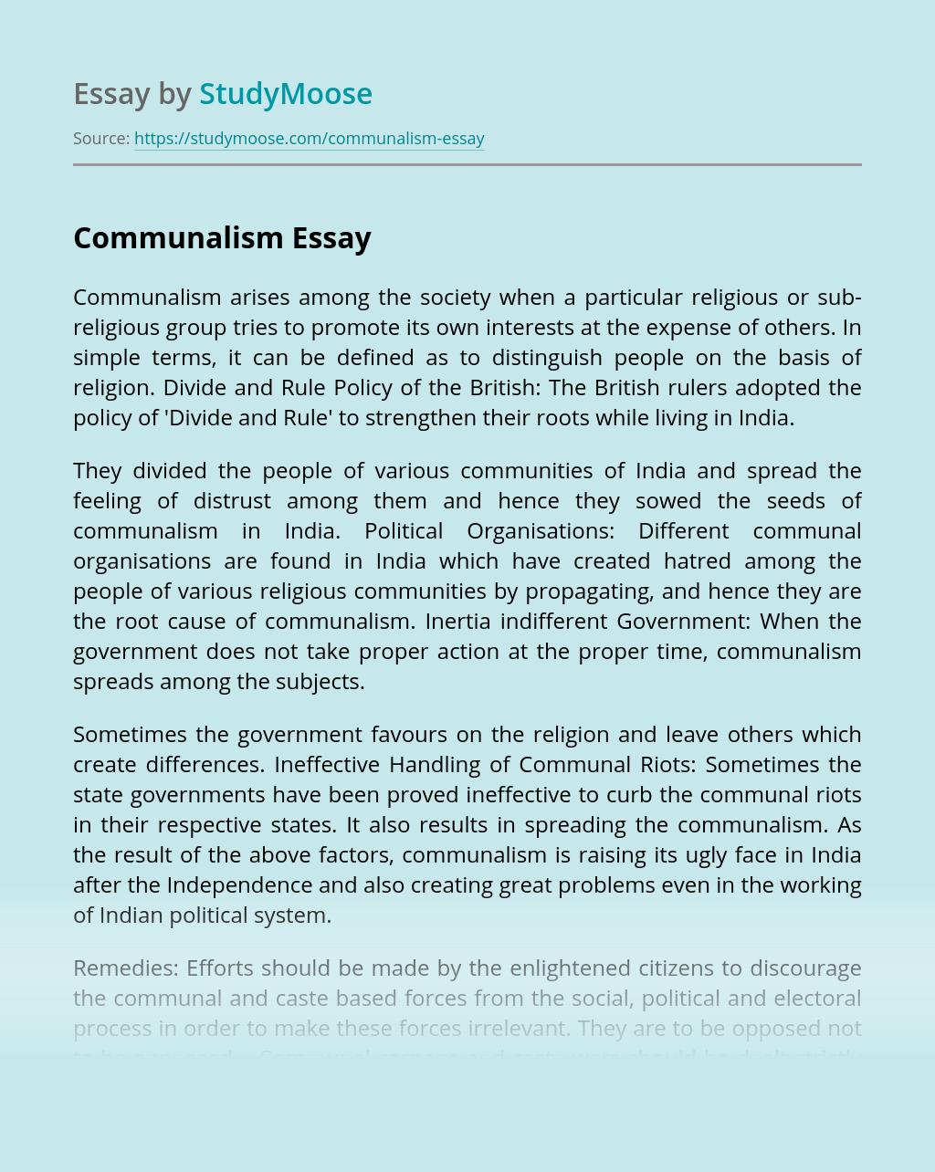 Communalism Arises Among the Society