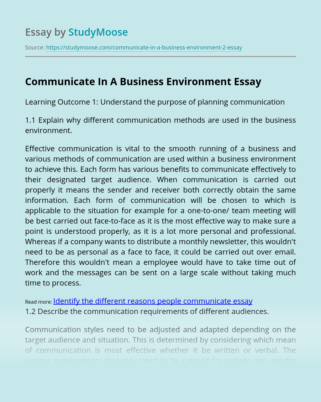 Communicate In A Business Environment