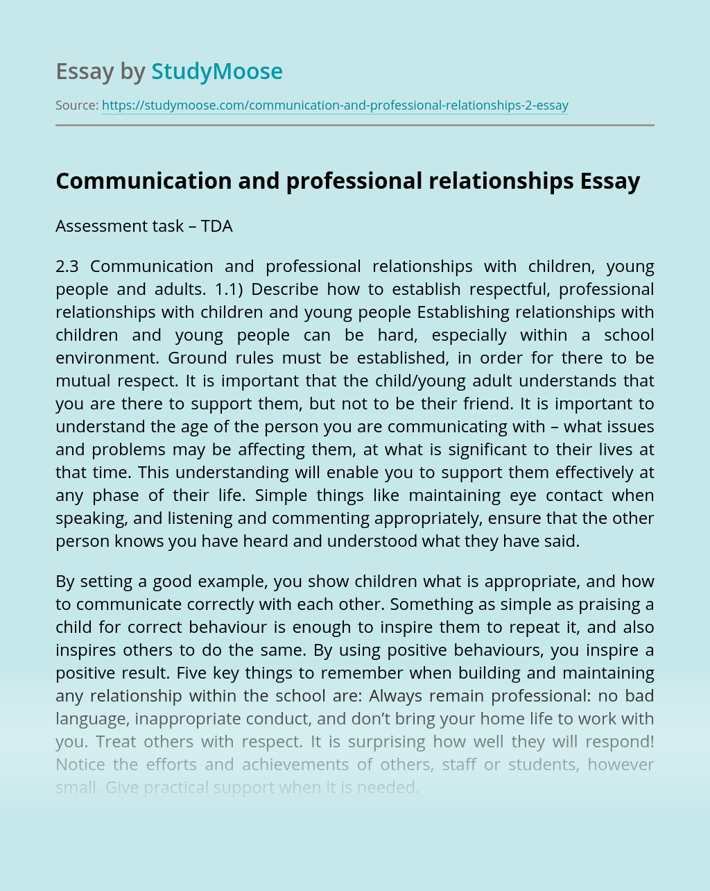 Communication and professional relationships