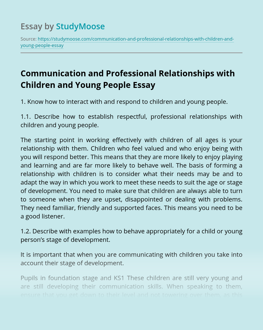 Communication and Professional Relationships with Children and Young People