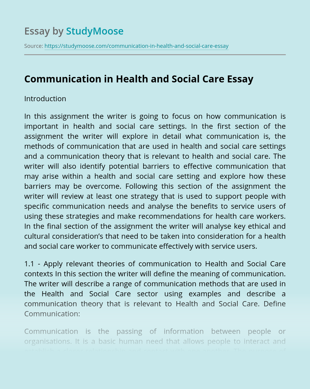 Communication in Health and Social Care
