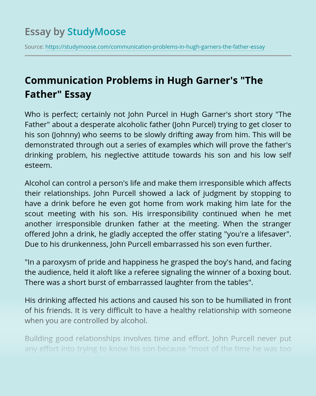 """Communication Problems in Hugh Garner's """"The Father"""""""