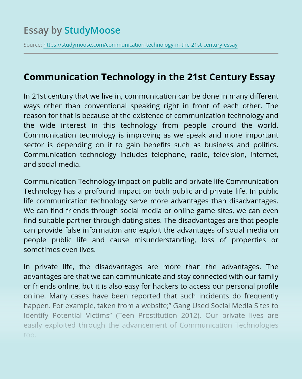 Communication Technology in the 21st Century