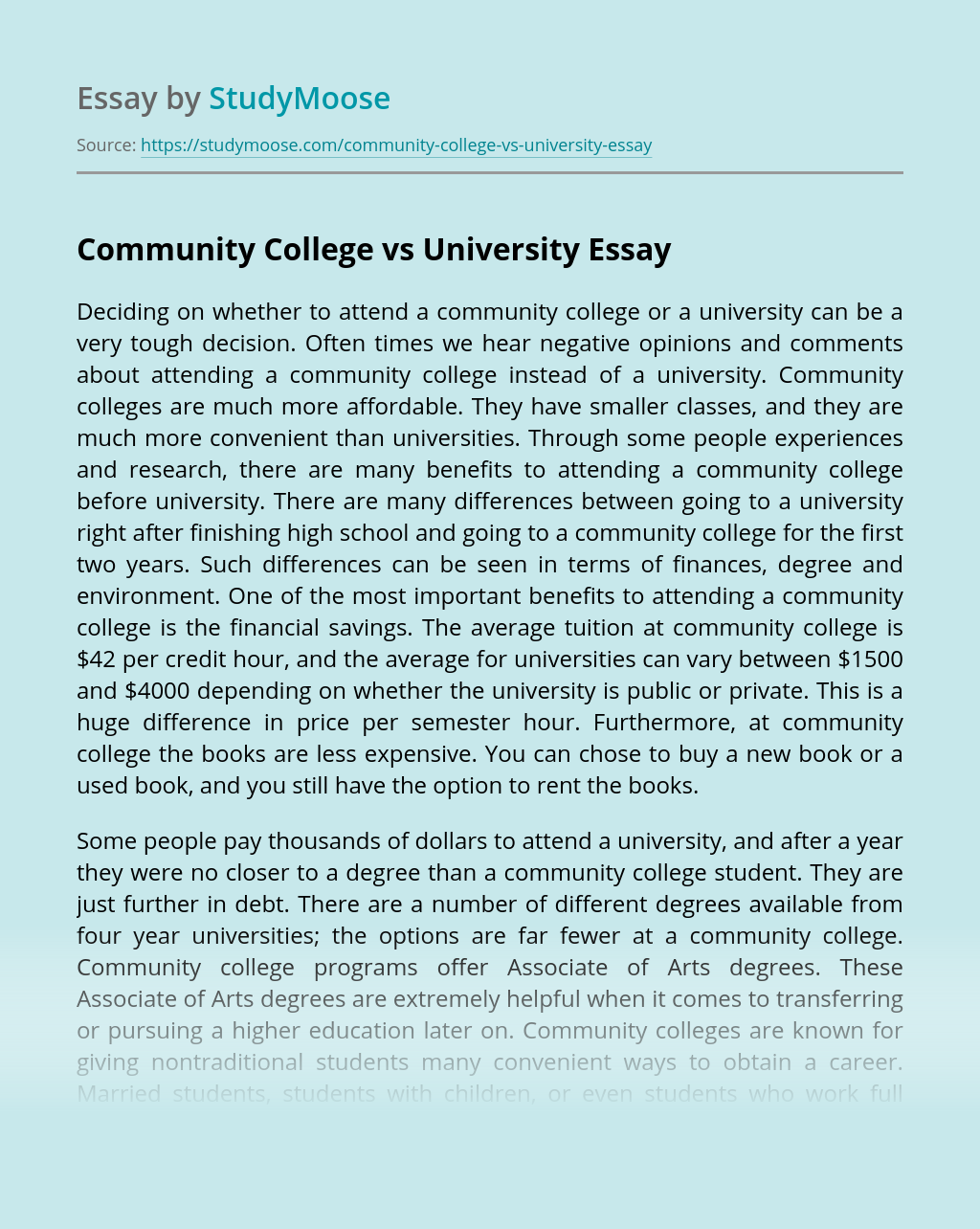 Community College vs University