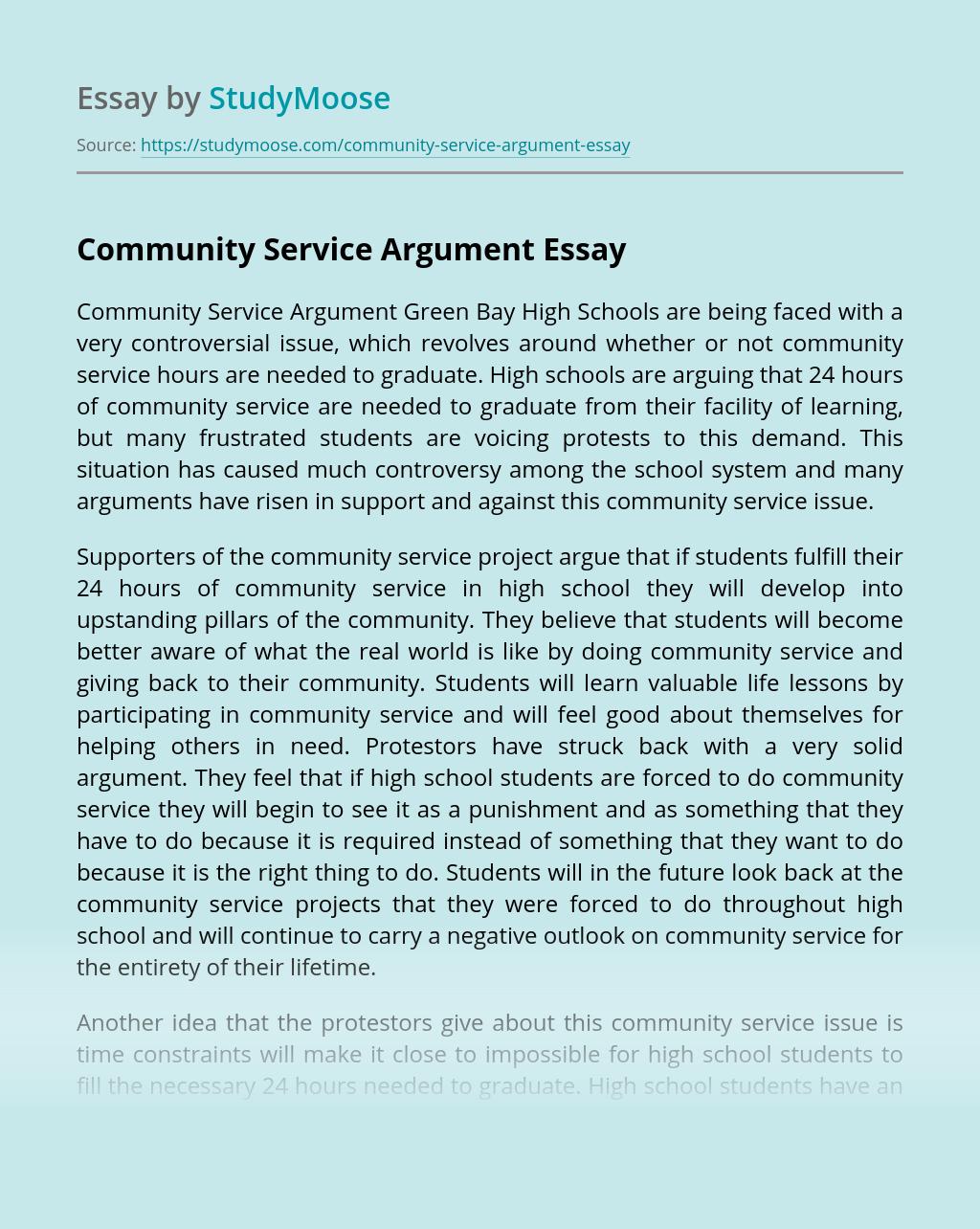 Community Service Argument
