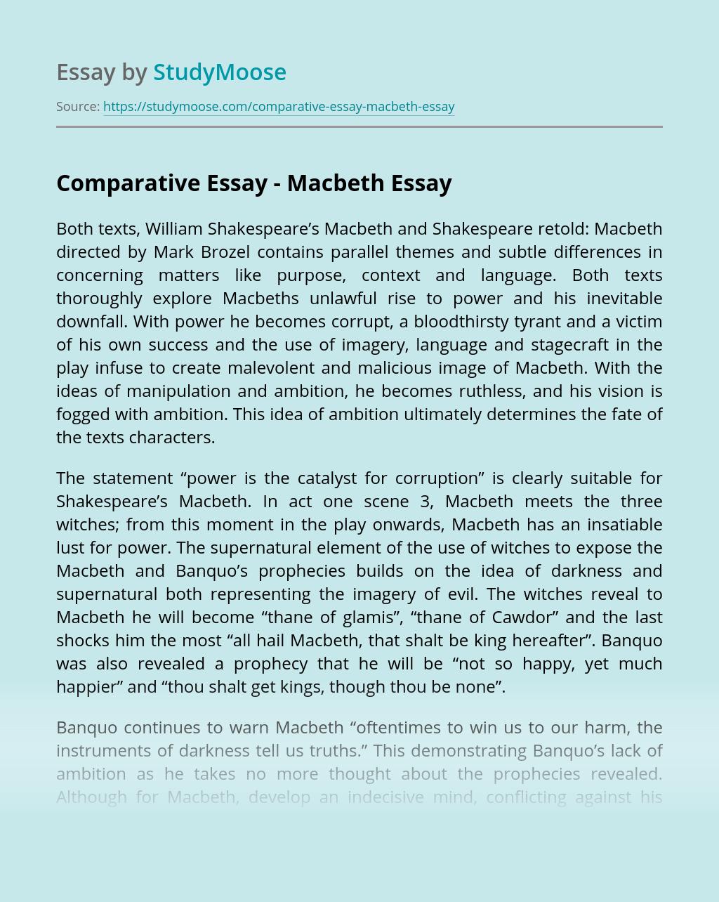 Comparative Essay – Macbeth