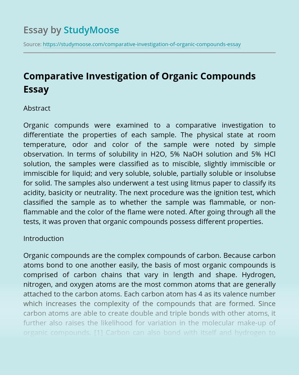 Comparative Investigation of Organic Compounds