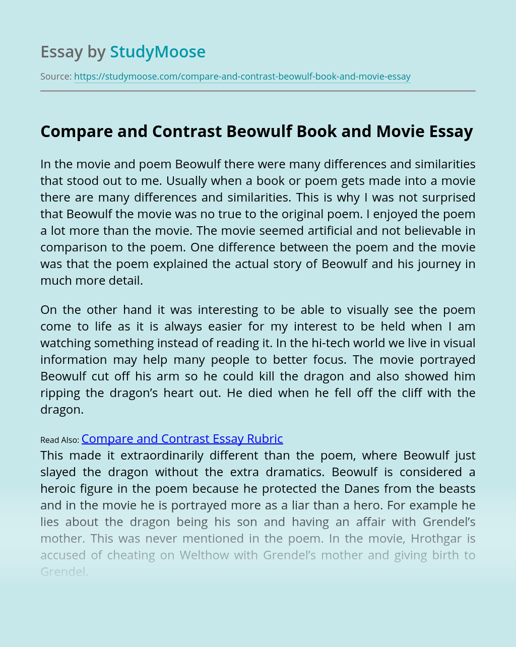 Compare and Contrast Beowulf Book and Movie