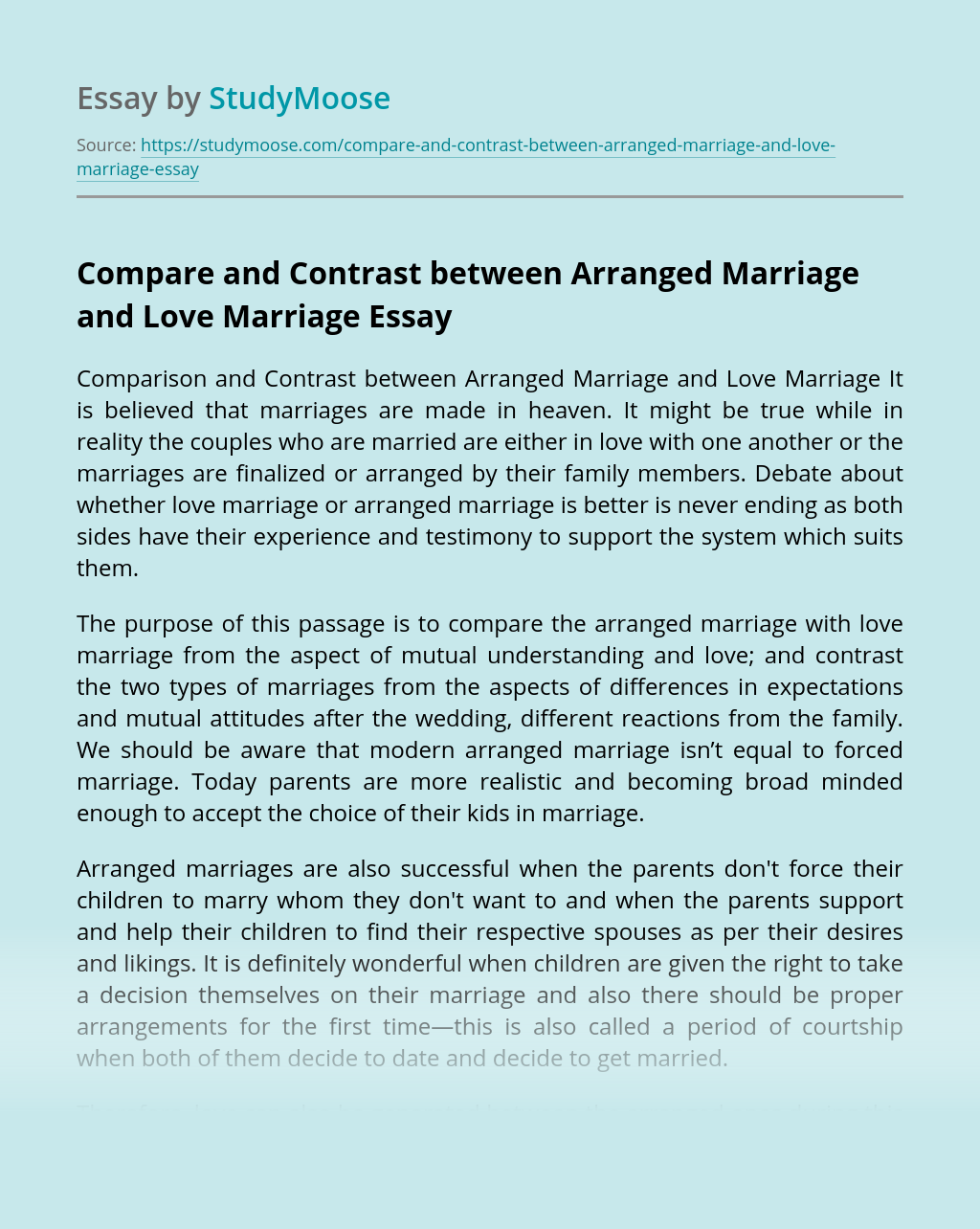Compare and Contrast between Arranged Marriage and Love Marriage