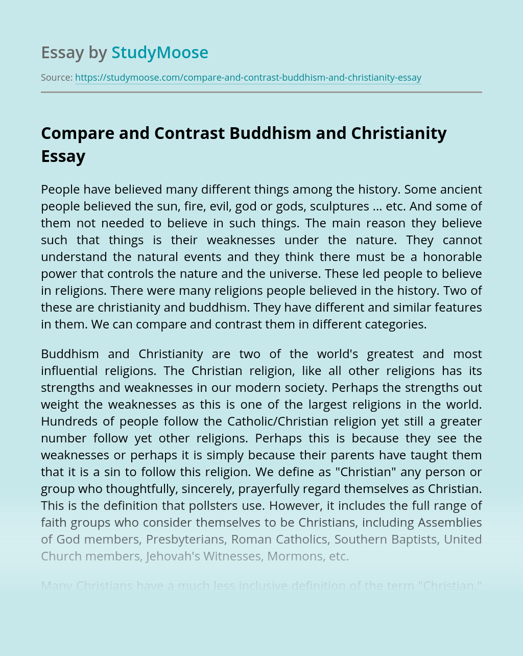 Compare and Contrast Buddhism and Christianity