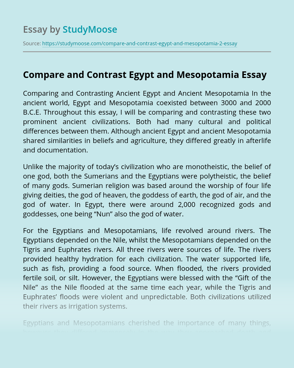 Compare and Contrast Egypt and Mesopotamia