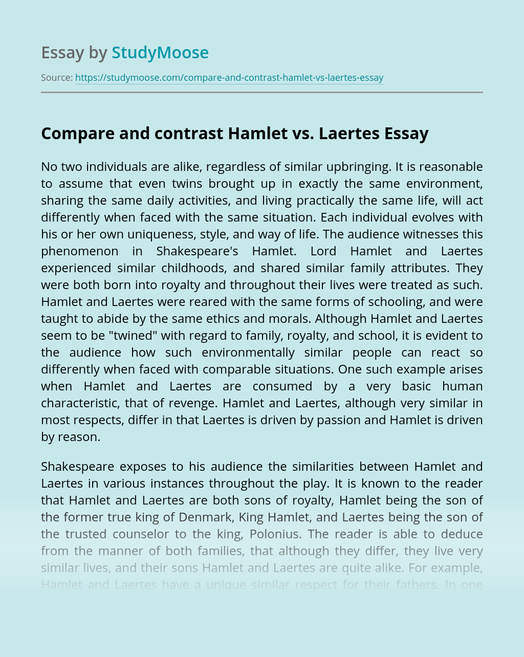 Compare and contrast Hamlet vs. Laertes