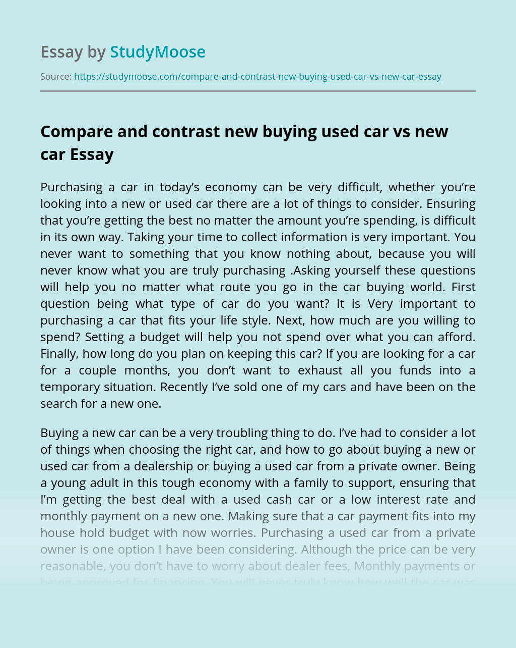Compare and contrast new buying used car vs new car