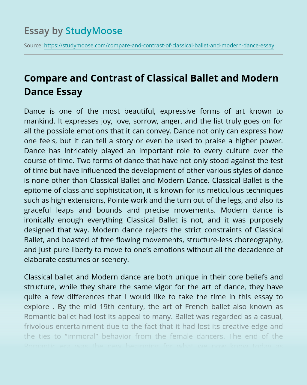 Compare and Contrast of Classical Ballet and Modern Dance