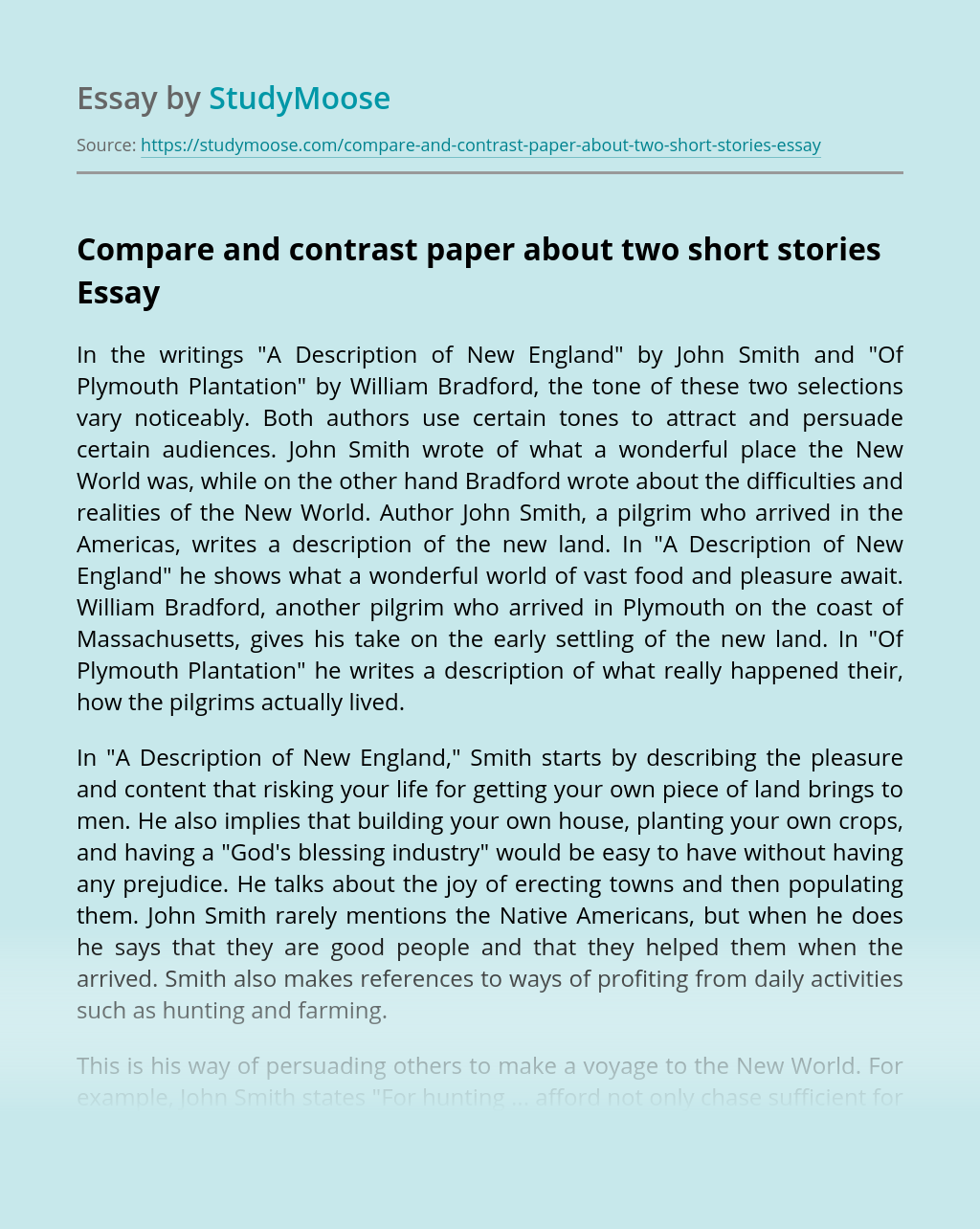 Compare and contrast paper about two short stories