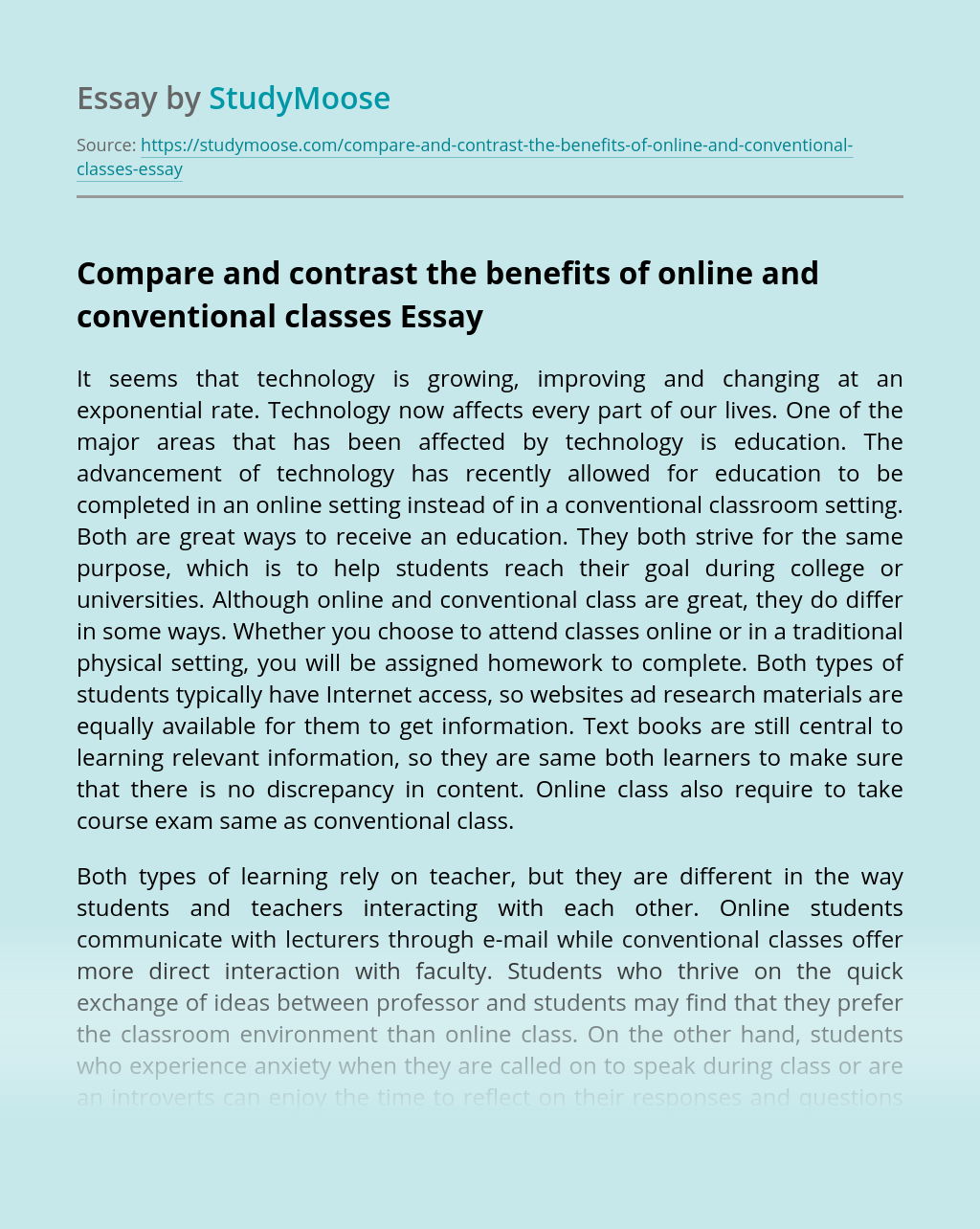 Compare and contrast the benefits of online and conventional classes