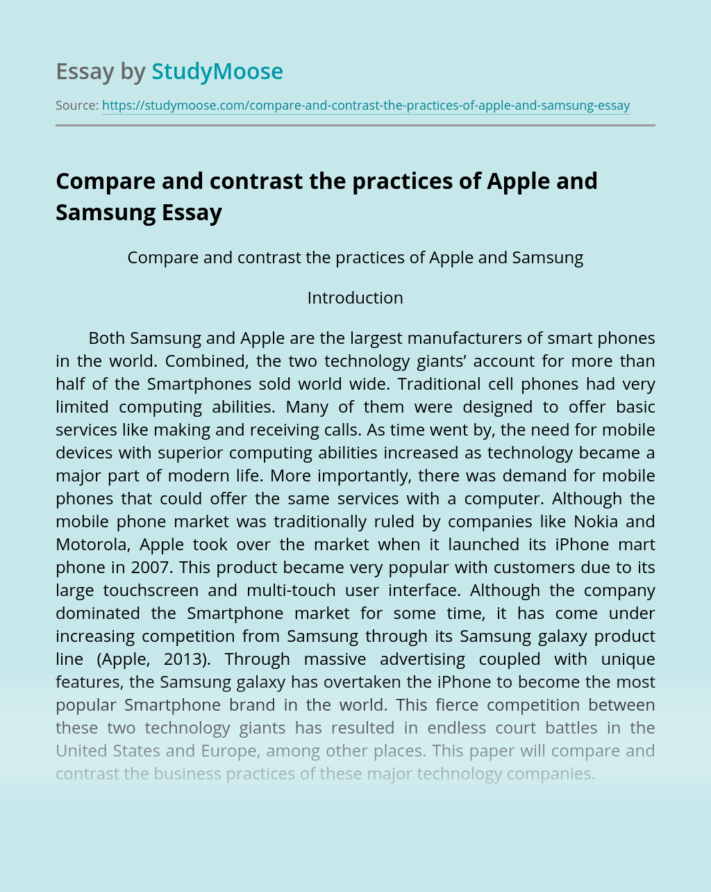 Compare and contrast the practices of Apple and Samsung