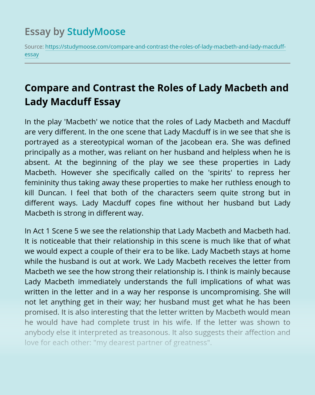 Compare and Contrast the Roles of Lady Macbeth and Lady Macduff