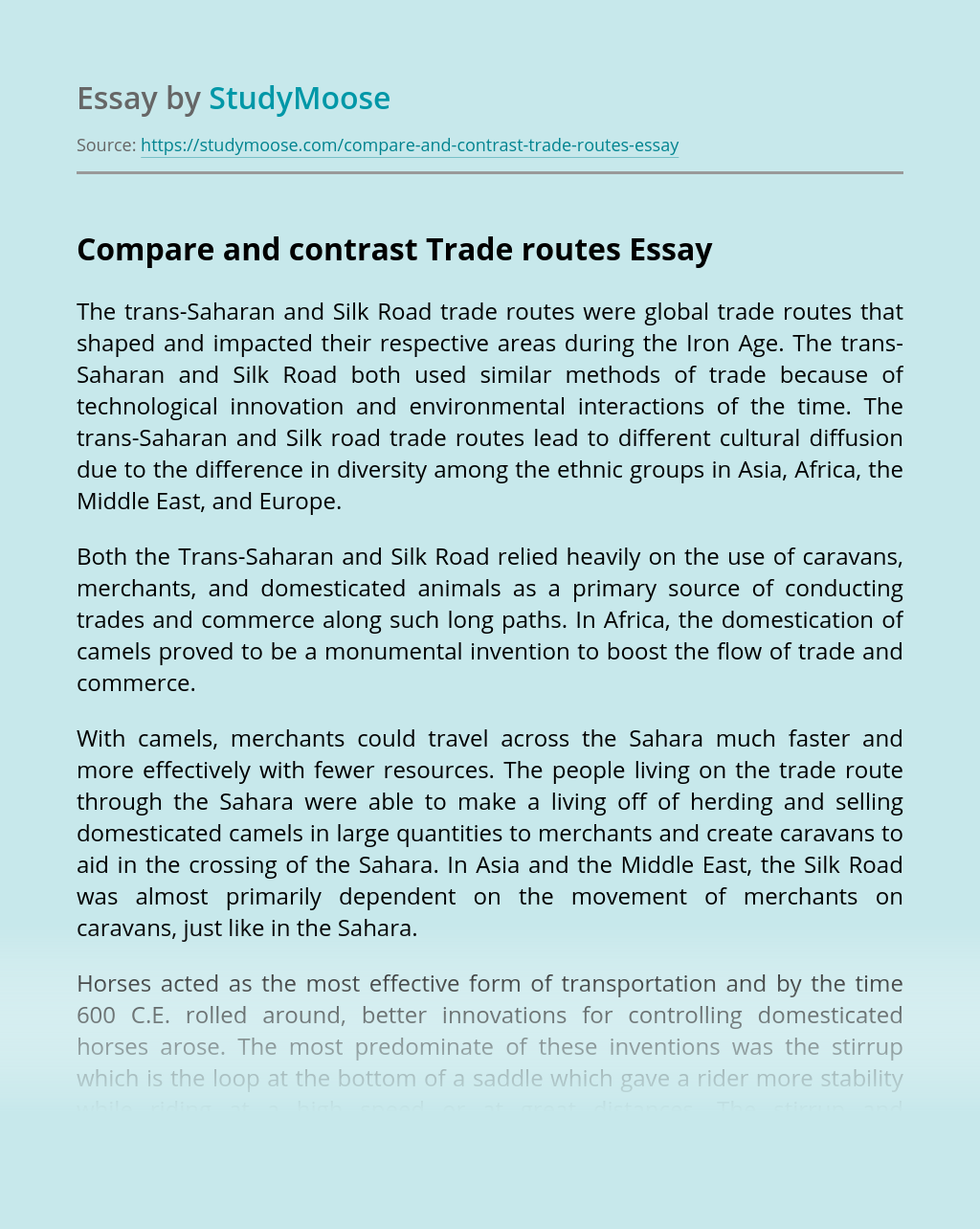 Compare and contrast Trade routes