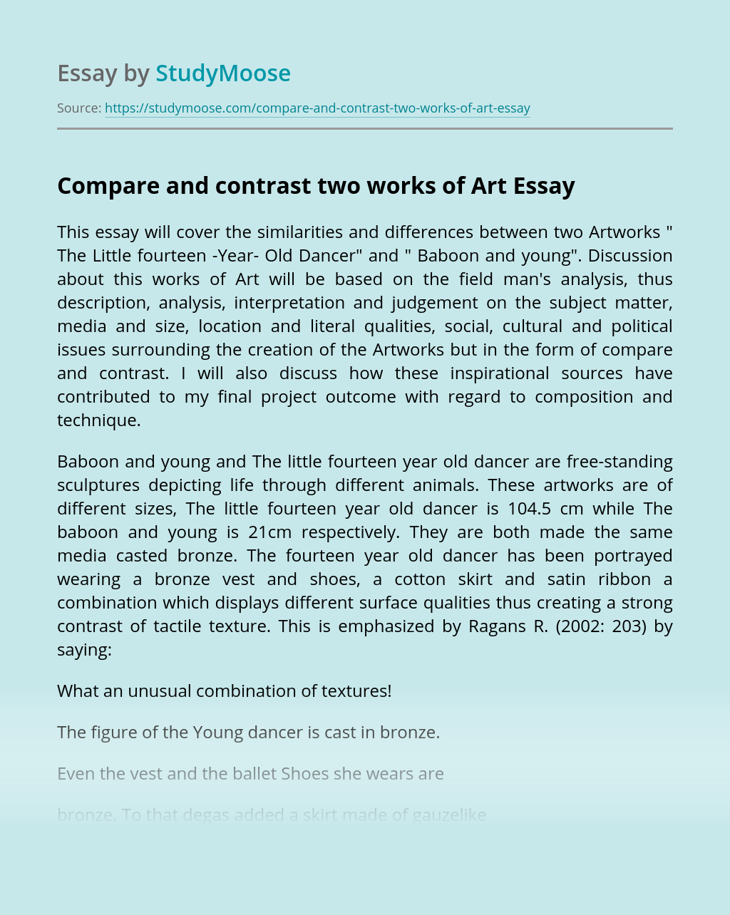 Art comparison essay example