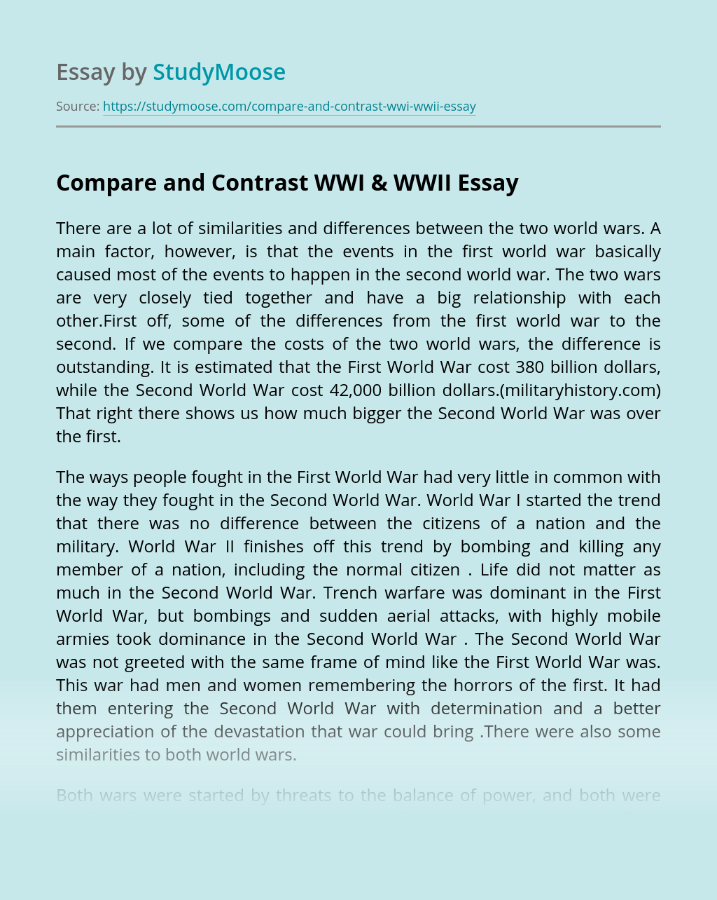 Compare and Contrast WWI & WWII