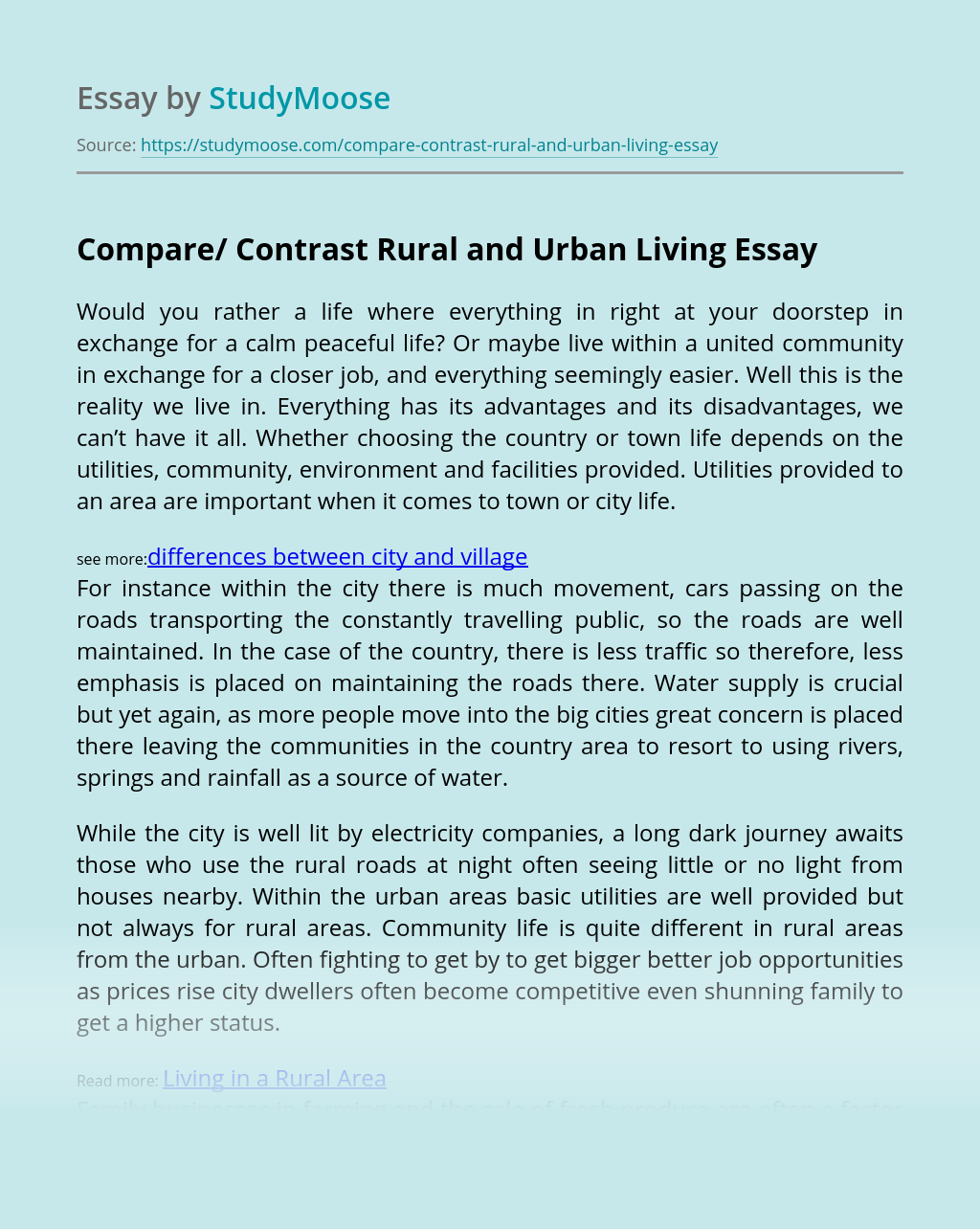 Compare/ Contrast Rural and Urban Living