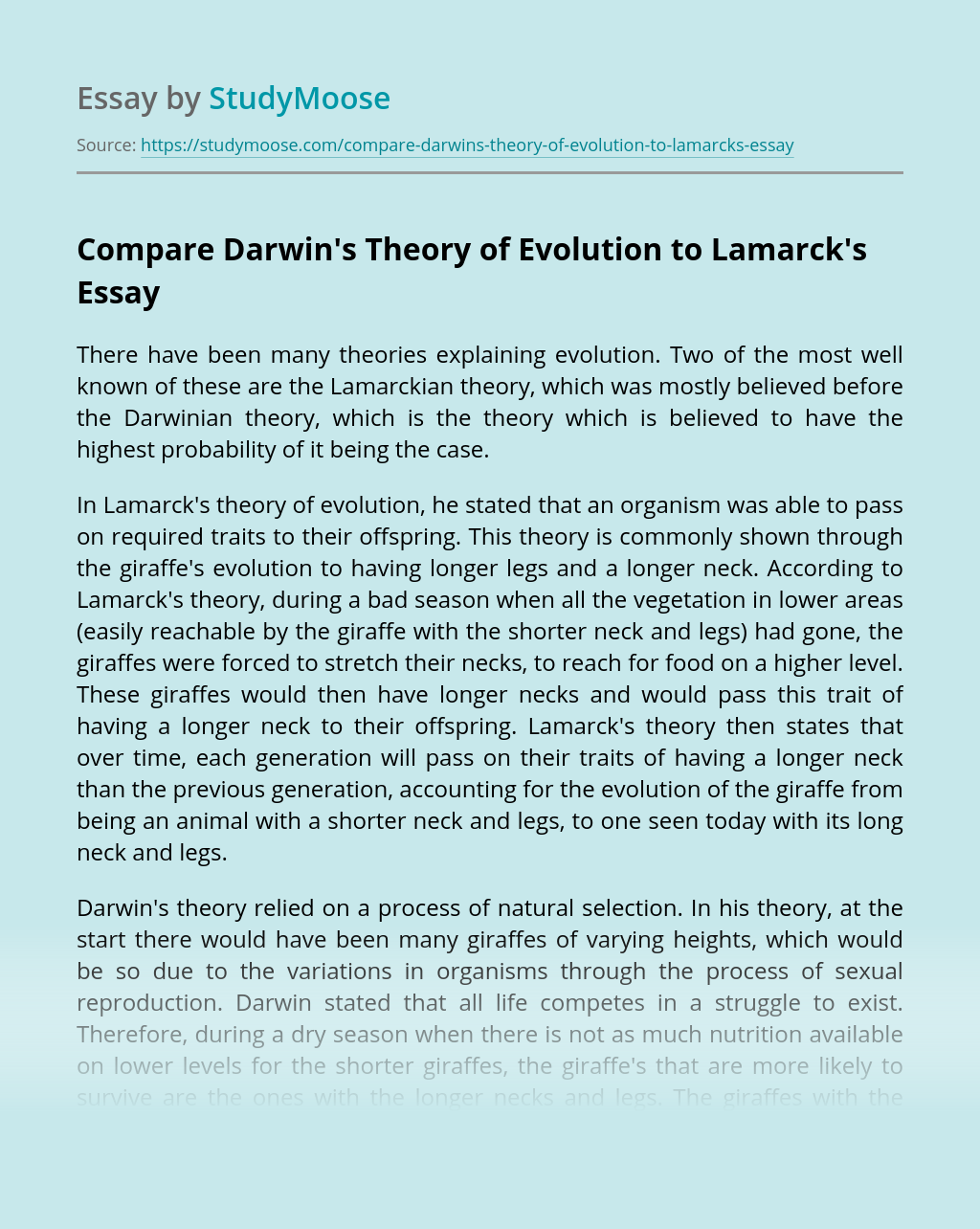 Compare Darwin's Theory of Evolution to Lamarck's