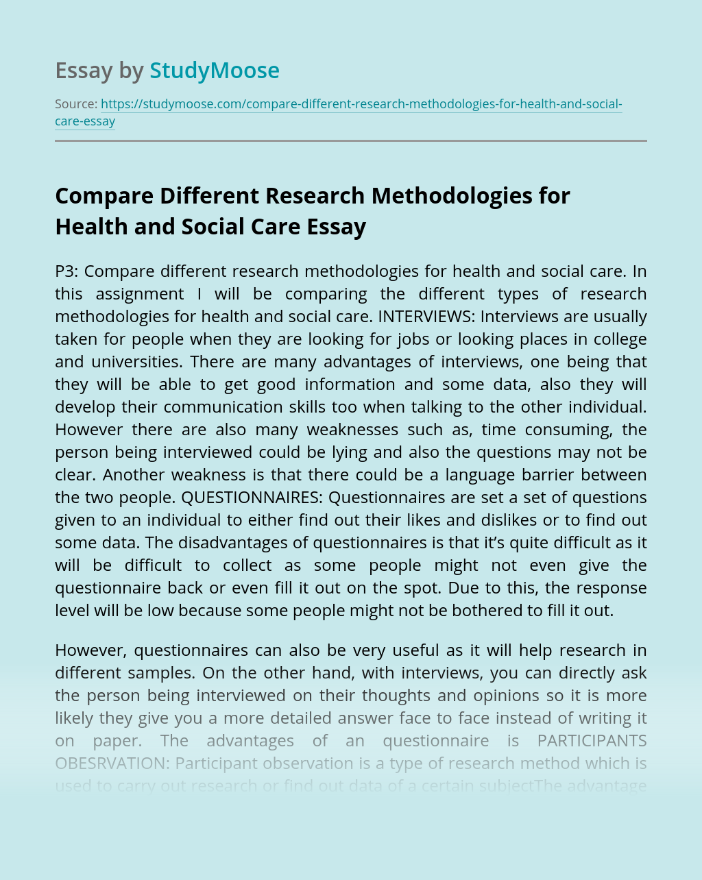 Compare Different Research Methodologies for Health and Social Care