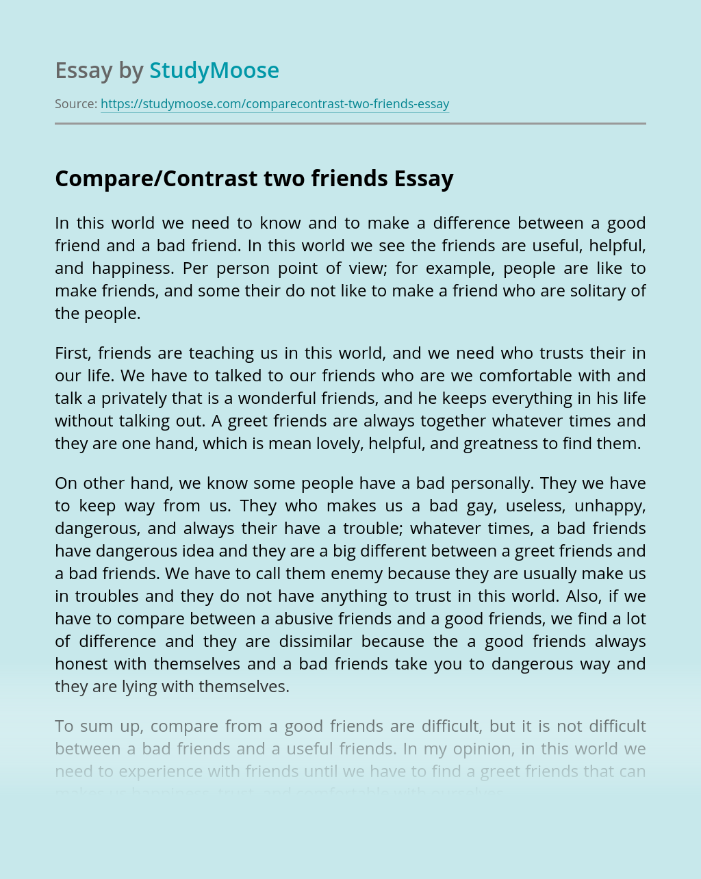 Compare/Contrast two friends