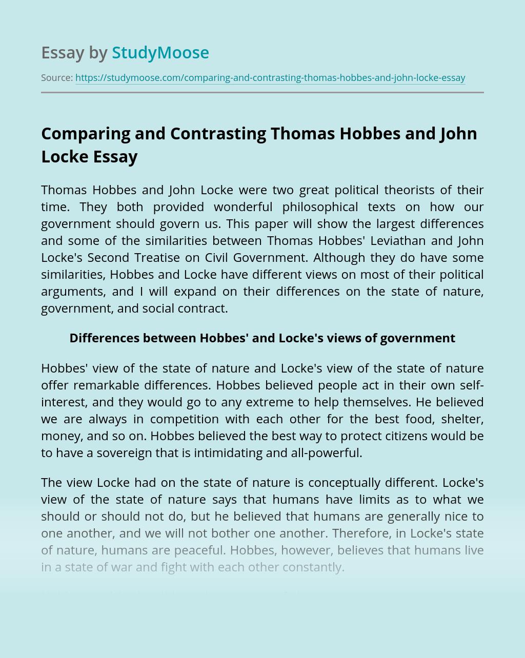 Comparing and Contrasting Thomas Hobbes and John Locke