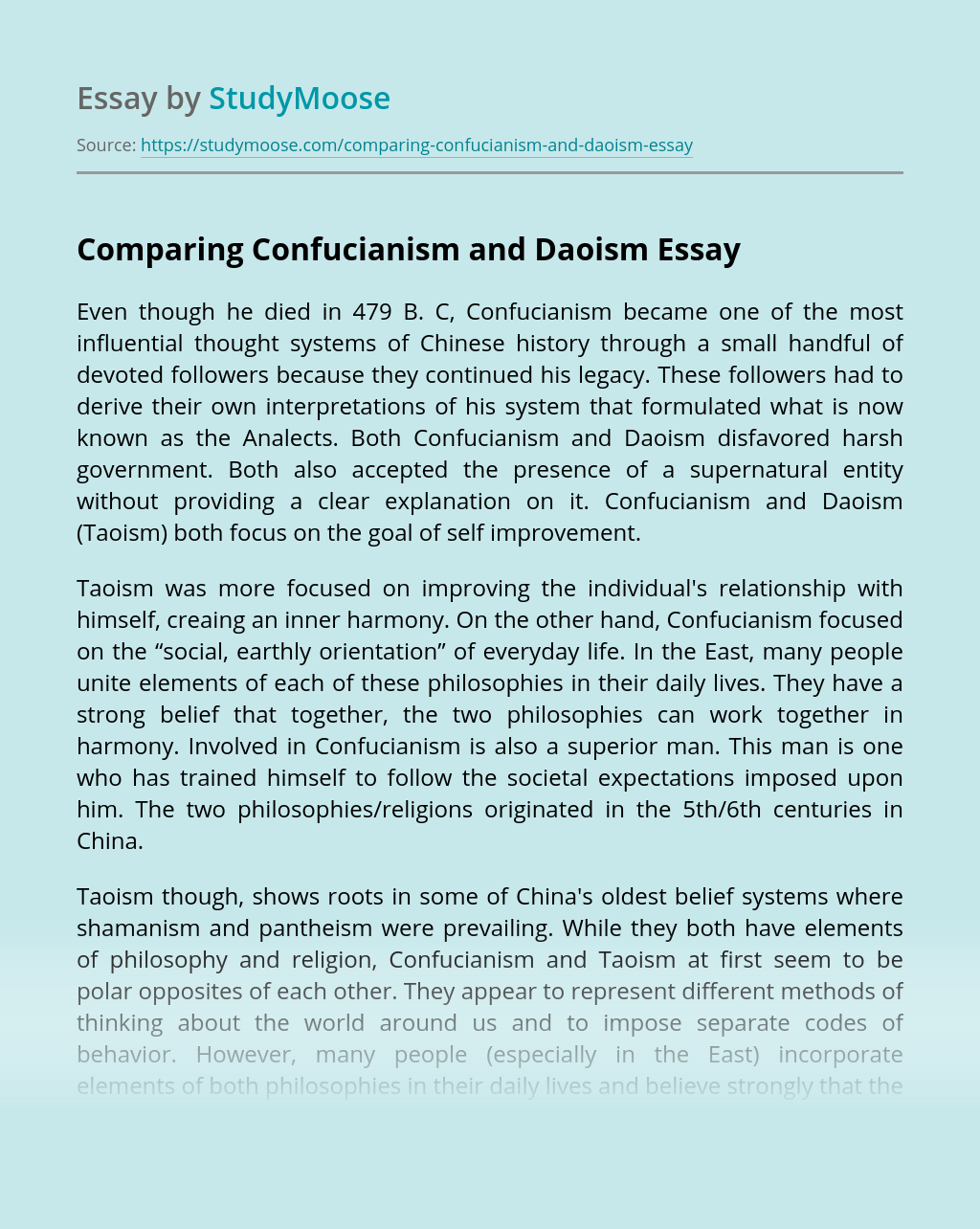 Comparing Confucianism and Daoism