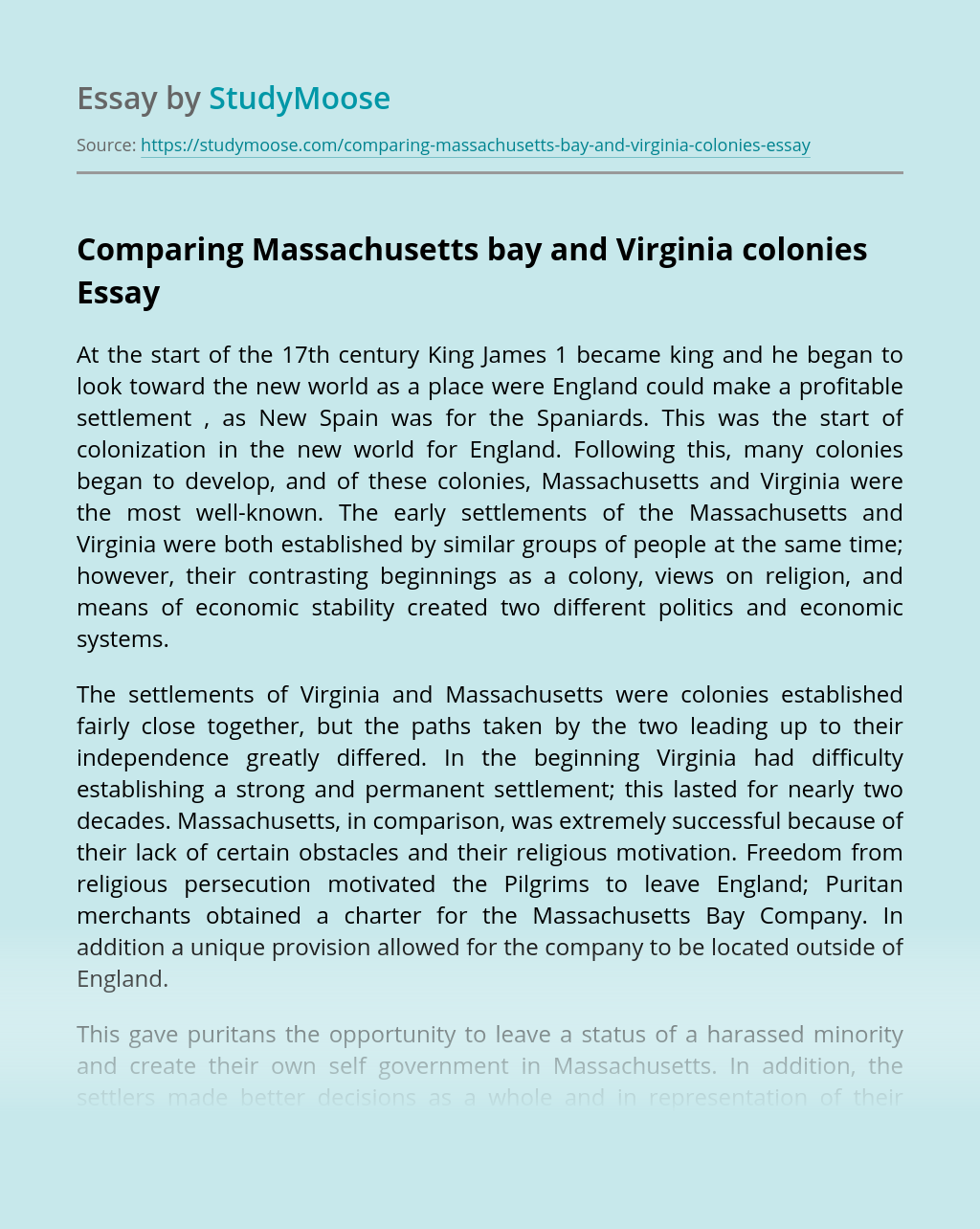 Comparing Massachusetts bay and Virginia colonies