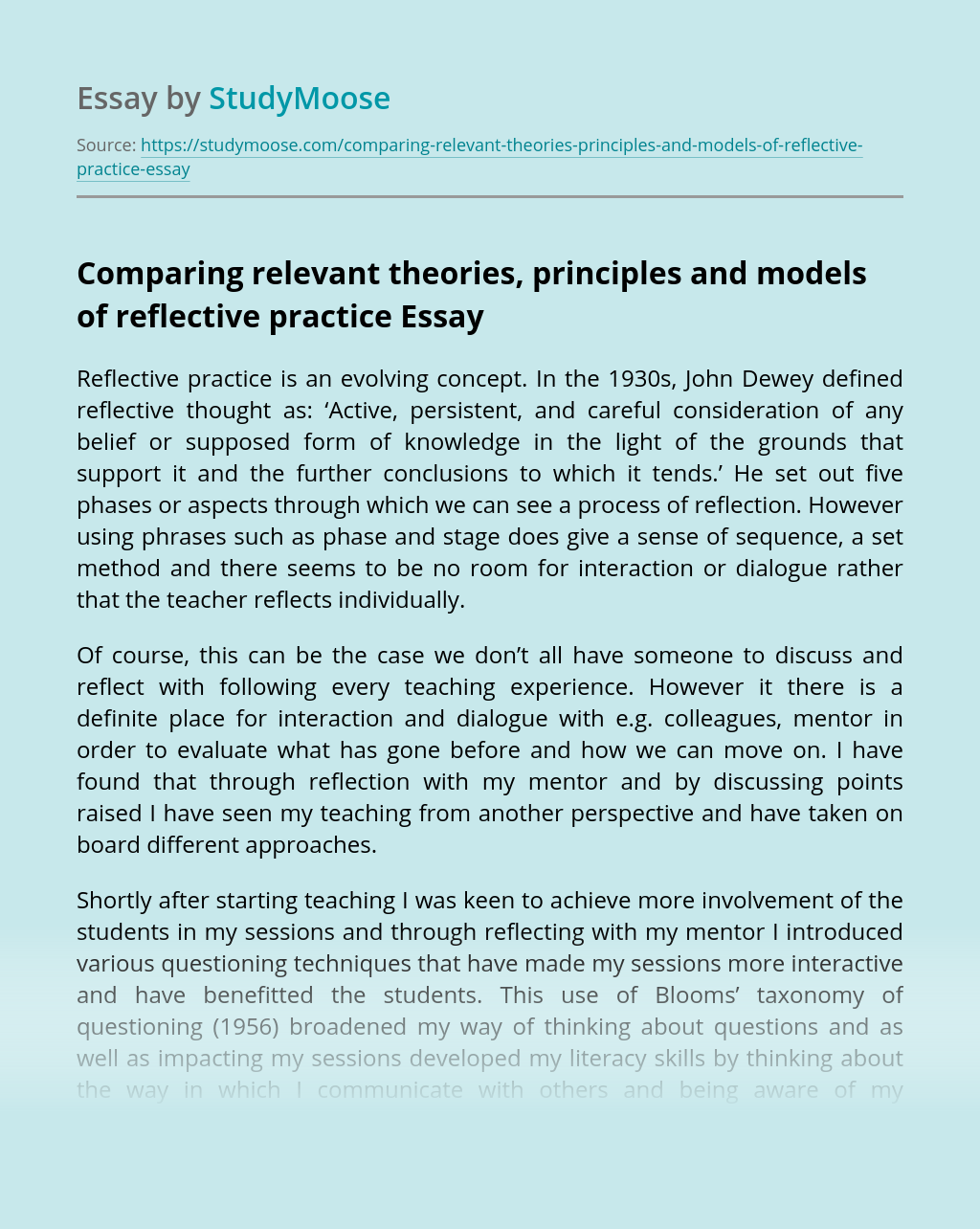 Comparing relevant theories, principles and models of reflective practice