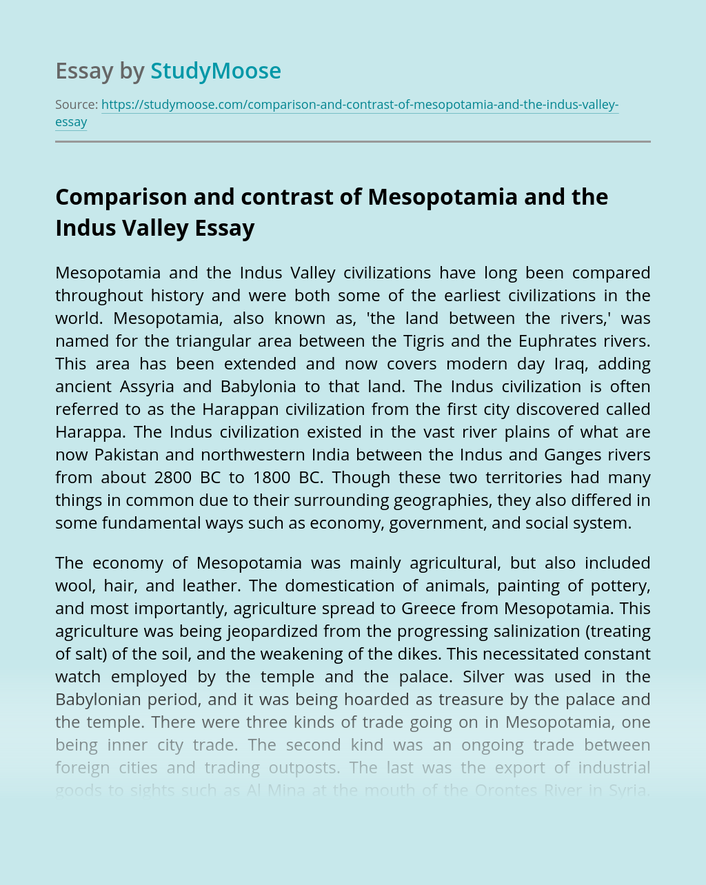 Comparison and contrast of Mesopotamia and the Indus Valley
