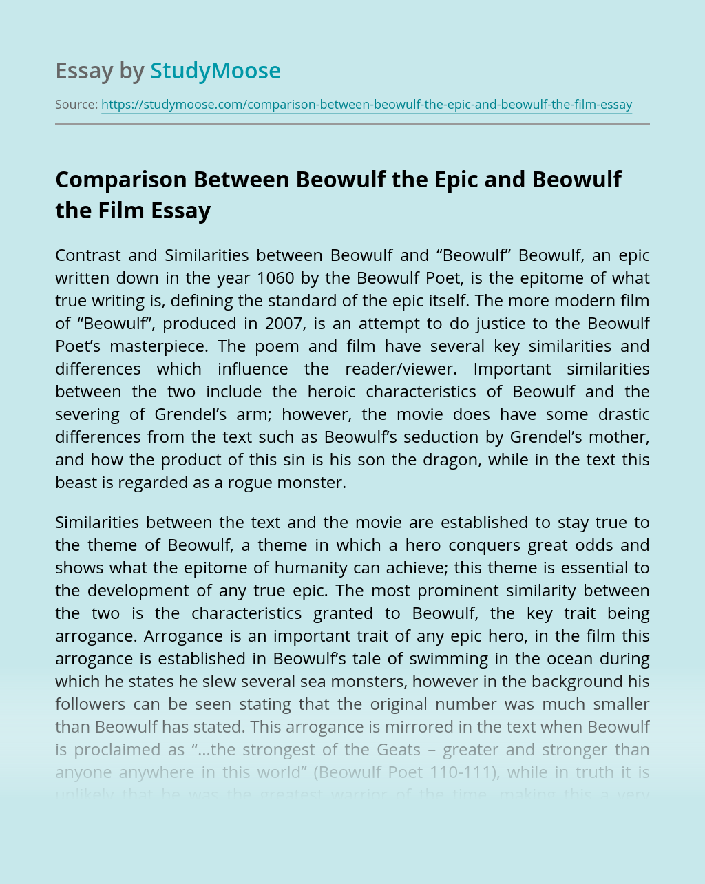 Comparison Between Beowulf the Epic and Beowulf the Film