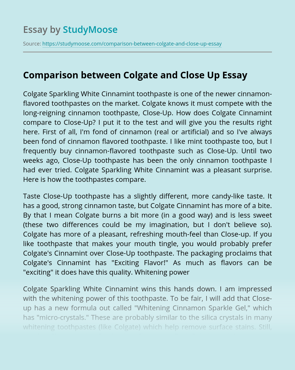 Comparison between Colgate and Close Up