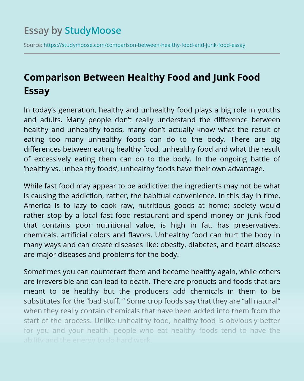 Comparison Between Healthy Food and Junk Food