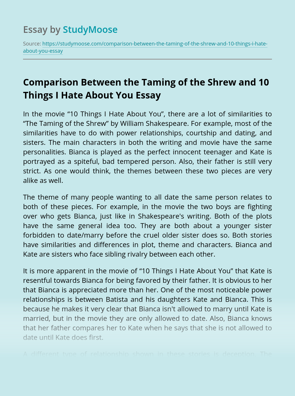 Comparison Between the Taming of the Shrew and 10 Things I Hate About You
