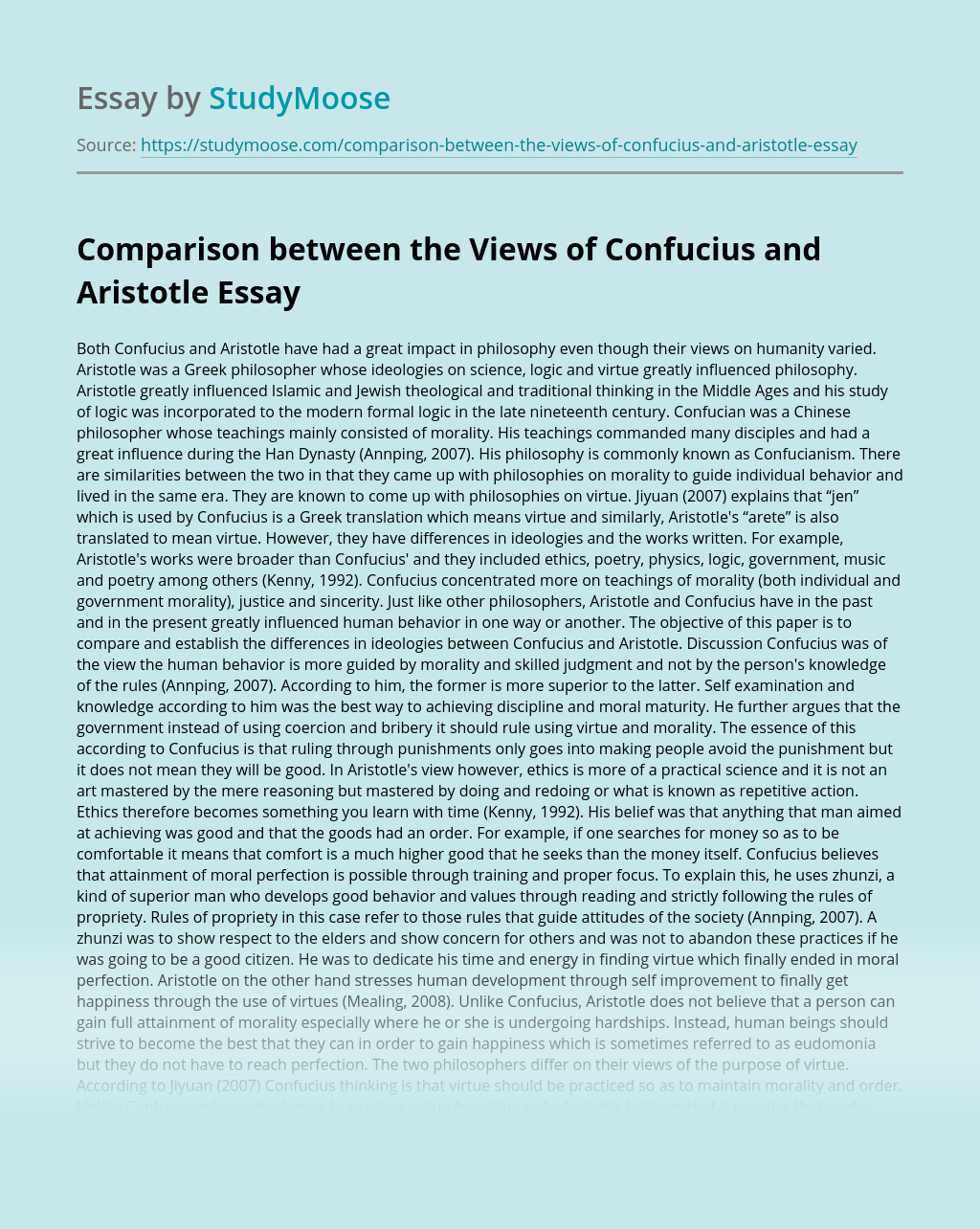 Comparison between the Views of Confucius and Aristotle