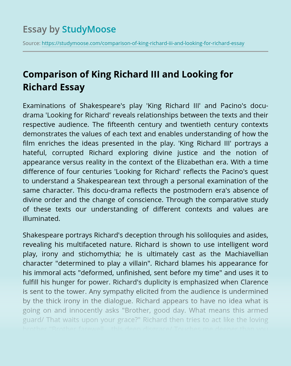 Comparison of King Richard III and Looking for Richard