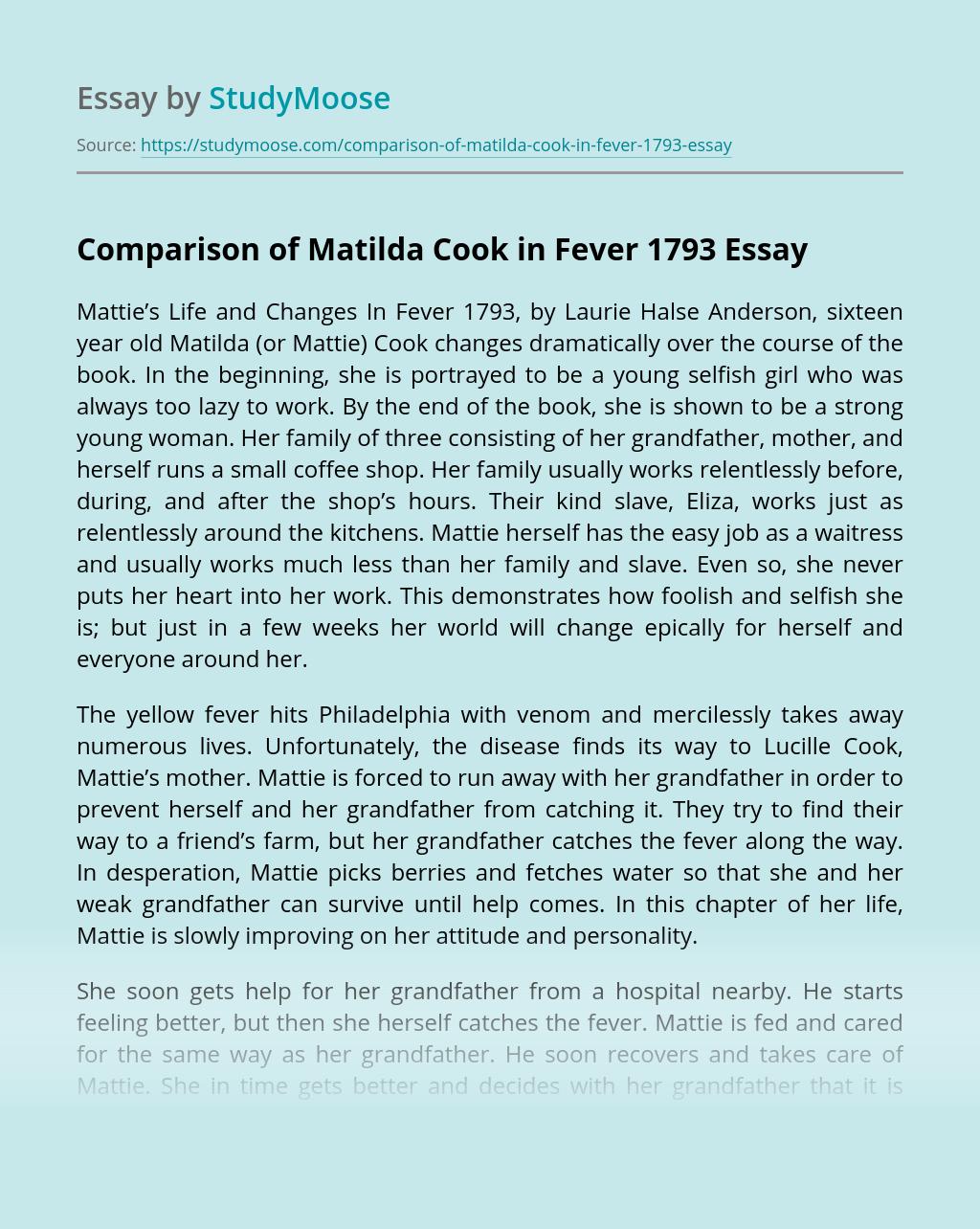 Comparison of Matilda Cook in Fever 1793