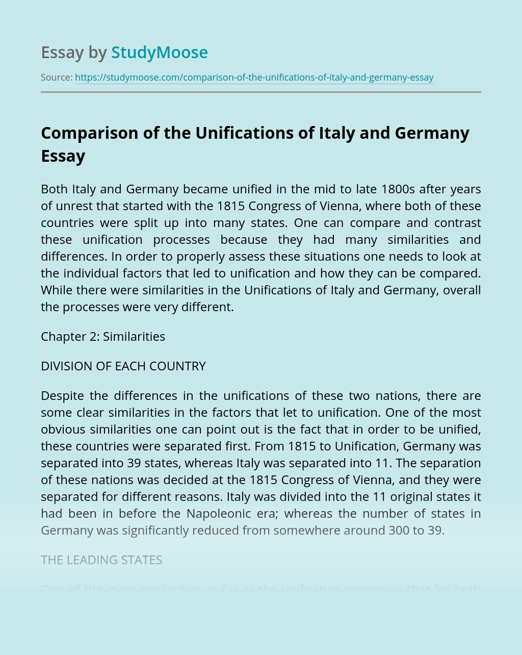 Comparison of the Unifications of Italy and Germany
