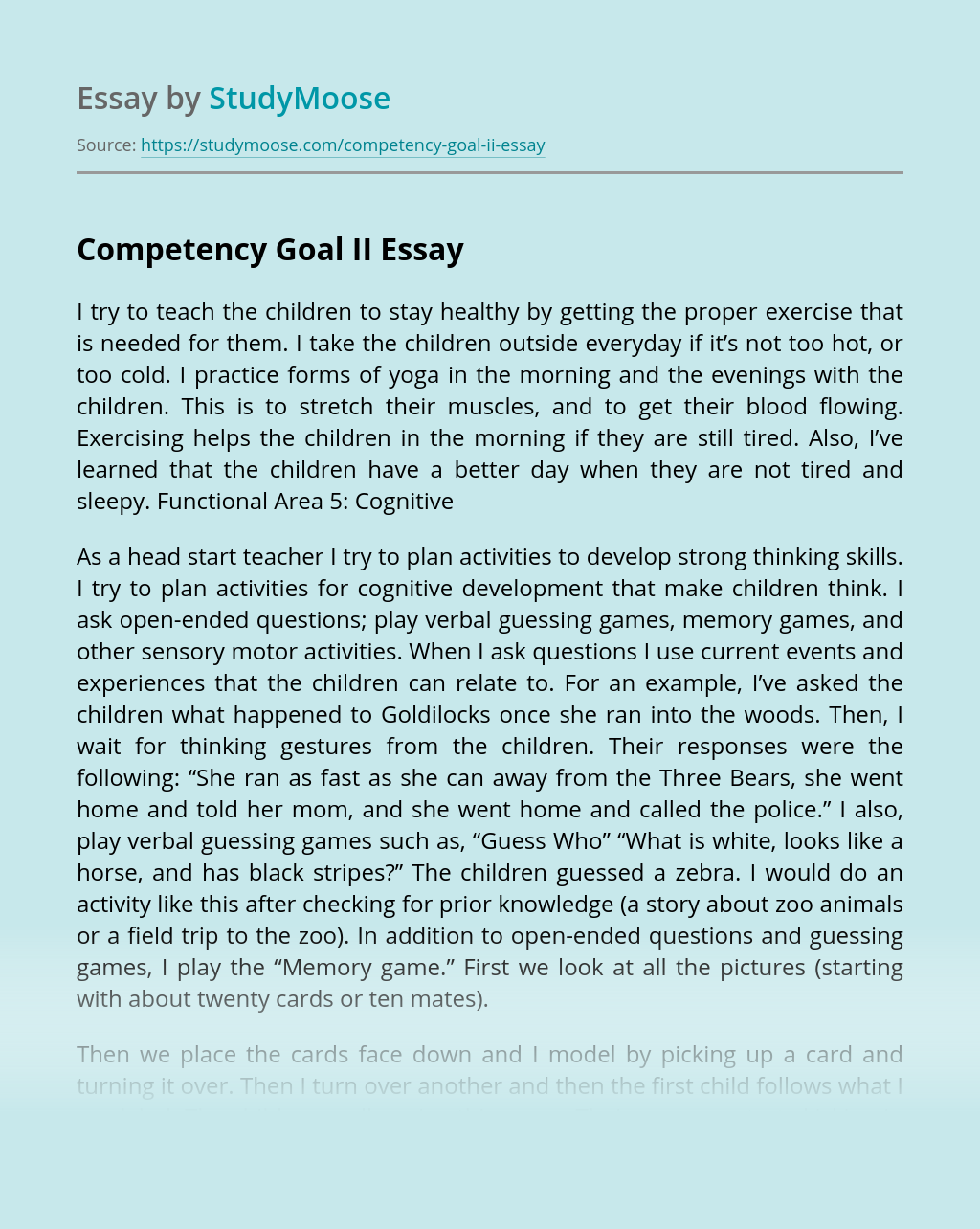 Competency Goal II