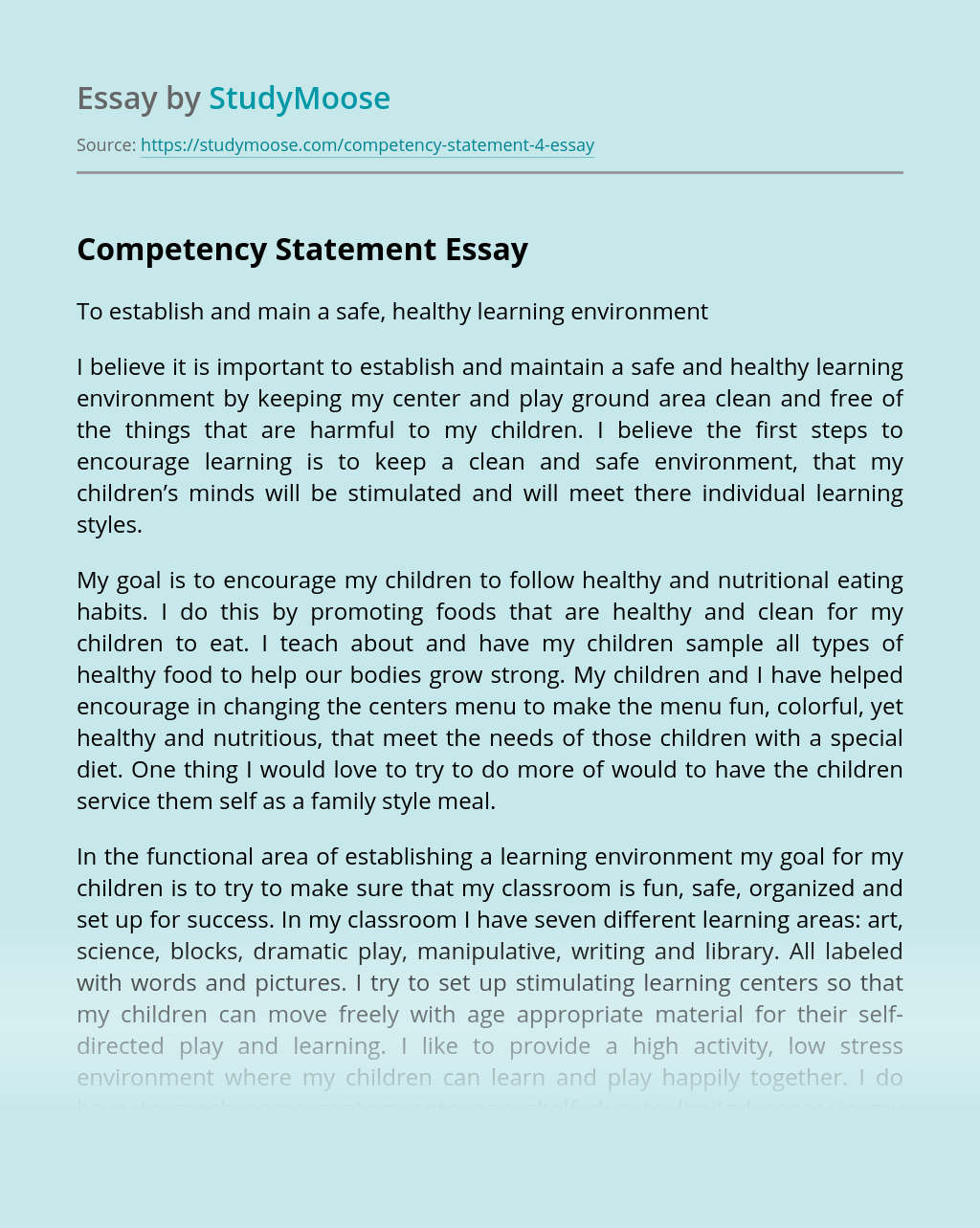 Competency Statement