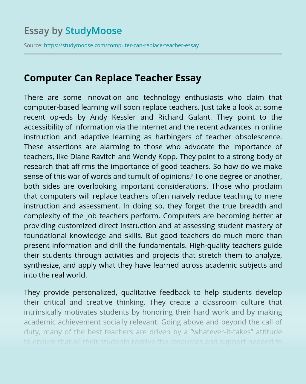 Computer Can Replace Teacher