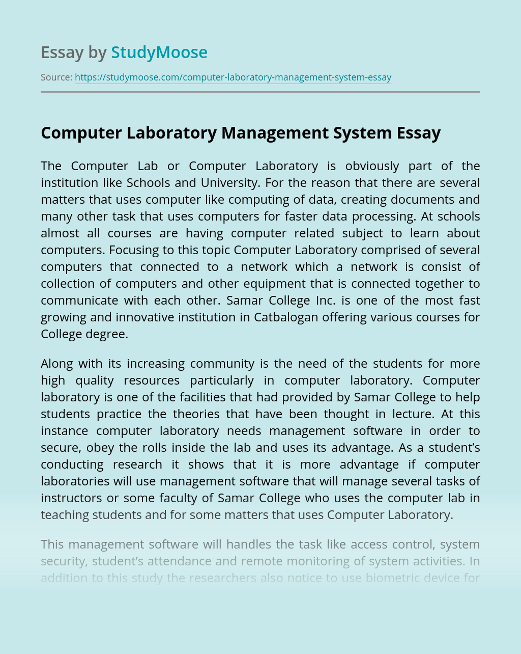 Computer Laboratory Management System